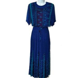 Carole Little Vintage blue beaded maxi, sz 4